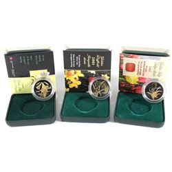 2002-2004 Canada 50-cent Sterling Silver Canadian Flora Coins: 2002 Golden Tulip, 2003 Golden Daffod