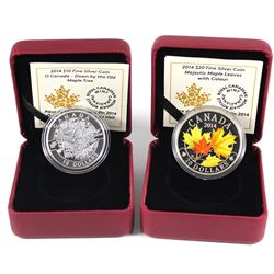 2014 O Canada Series $10 Down By the Old Maple Tree & 2014 $20 Majestic Maple Leaves with Colour (Ta