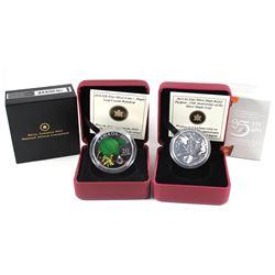 2010 Canada $20 Maple Leaf Crystal Raindrop Fine Silver & 2013 Canada $5 Piedfort 25th Anniversary o