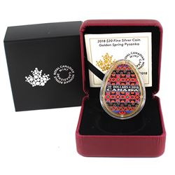 2018 Canada $20 Golden Spring Pysanka Fine Silver Coin (TAX Exempt)