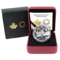 2015 $20 Holiday Reindeer Fine Silver Coin (TAX Exempt)