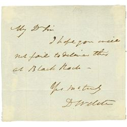 DANIEL WEBSTER HANDWRITTEN SIGNED NOTE.