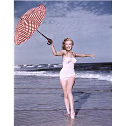 ANDRE DE DIENES (1913-1985): MARILYN MONROE Polka Dot Umbrella, Tobay Beach, 1949