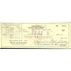 Lucille Ball Signed cheque.
