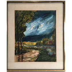 Etienne Ret (1900-1996): Evening at River Gouache
