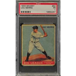 Goudey Lou Gehrig 1933 card. PSA/DNA/
