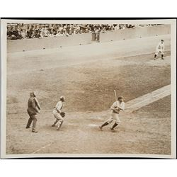 Babe Ruth hitting his 60th home run in 1927 vintage photo.