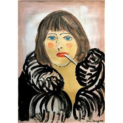 KEES VAN DONGEN - Portrait of a woman with a cigarette (Kiki de Montparnasse)
