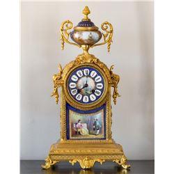 French Gilt Bronze Sevres Style Porcelain Clock