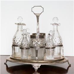 George III Sterling & Cut Glass 8 Piece Cruet Set.