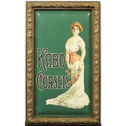 Kabo Corsettes Beveled Celluloid Sign.