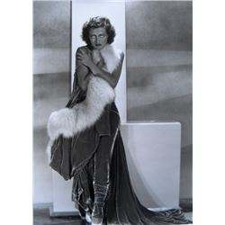 Joan Crawford in fur photograph with Hurrell stamp