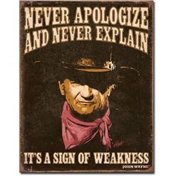 "JOHN WAYNE METAL SIGN 12.5"" X 16"""