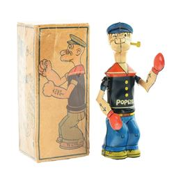 Chein Tin Litho Wind Up Popeye Shadow Boxer with Box.