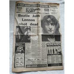 JOHN LENNON 1980 NEWSPAPER ARTICLE.