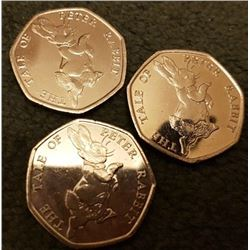 BRITISH: (X3 COINS). The Tale of Peter Rabbit 2017 coins.