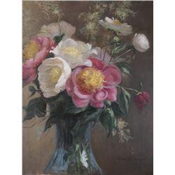 "Carroll McHUGH: ""Peonies""- Oil on Canvas"