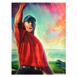 Tiger Woods Signed Lithograph on Canvas