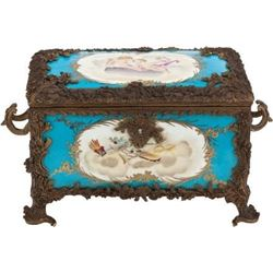 FRENCH SÈVRES-STYLE PORCELAIN AND BRONZE MOUNTED BOX.