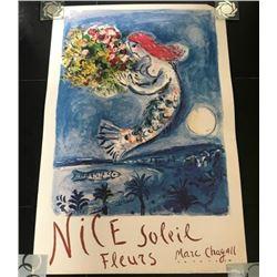 MARC CHAGALL NICE SOLEIL FLEURS MOURLOT TRAVEL POSTER. (1887-1985).