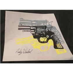 ANDY WARHOL: Revolver gun drawing.