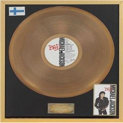 "MICHAEL JACKSON FINISH BAD ""GOLD RECORD"" RECORD AWARD."