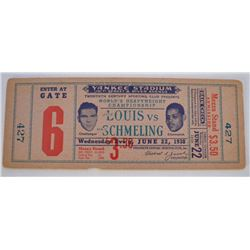 Joe Louis Vs Max Schmeling 1938 Fight Ticket