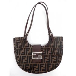 Fendi canvas and leather pocketbook