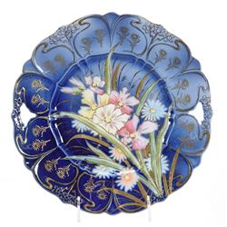 Cake Plate, Marked RS Steeple, Floral Scene