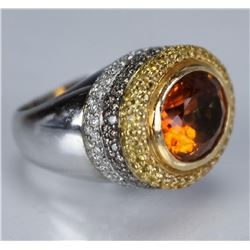 18 Carat  Multicoloured Diamond & Citrine Ring