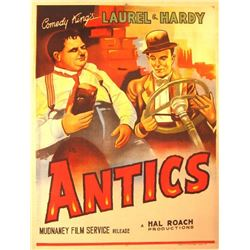 'Antics' Laurel and Hardy movie poster.