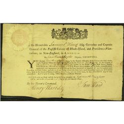 Colonial Governor SAMUEL WARD signed document.