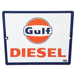 GULF DIESEL PORCELAIN PUMP SIGN.