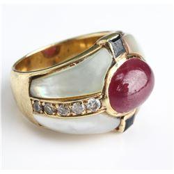 18 Carat Yellow Gold Diamond & Ruby & Sapphire MOP Ring