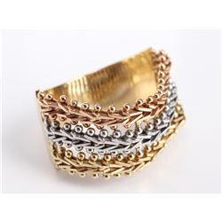 14 Carat Tri-Gold Woven Link Ring