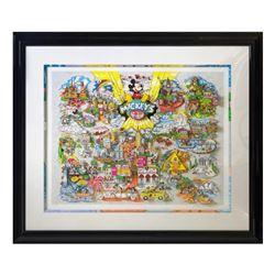 Charles Fazzino Mickey's World Tour 3D Serigraph