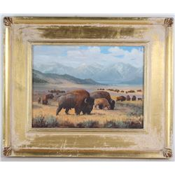 "Paul Magoon American ""Buffalo"" Landscape Painting"