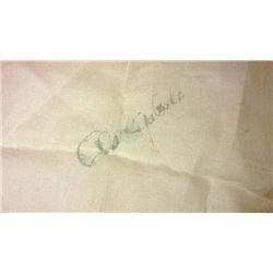 CLARK CABLE LINEN SIGNED HANDKERCHIEF.