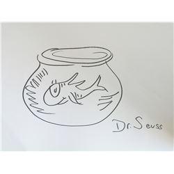 "Dr. Seuss Original Signed ""FISH IN GOLDFISH BOWL"" Sketch"