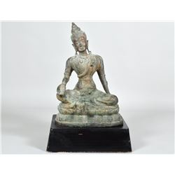 THAI PATINATED BRONZE OF A SEATED DEITY