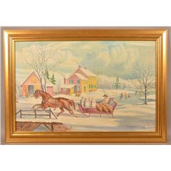 Charles Hepner Oil on Canvas Sleigh Ride Painting.