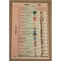 South Africa / South African 1994 First Multi Racial Voting Ballot Paper signed by Nelson Mandela.