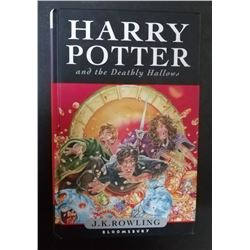 Harry Potter and the Deathly Hallows signed by J. K. Rowling.