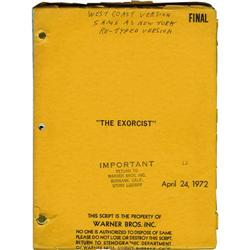 "The Exorcist Script. A ""West Coast Version"" o ""The Exorcist"" Script."