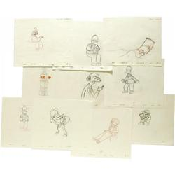 Simpsons Group of Production Sketches. Ten penci Simpsons Group of Production Sketches.