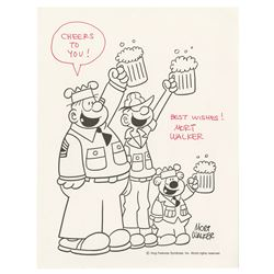 Mort Walker Signed Beetle Bailey Fan Card.
