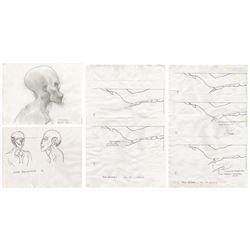 Set of (7) Signs Alien Drawings.