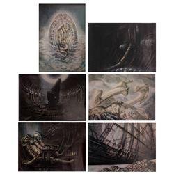 Set of (6) Signed H.R. Giger Aliens Concept Prints.