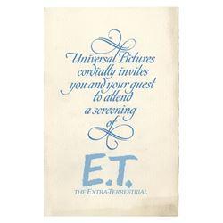 E.T. the Extra-Terrestrial Screening Invitation.