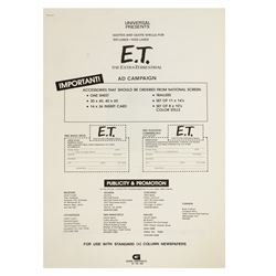 E.T. the Extra-Terrestrial Advertising Campaign Book.